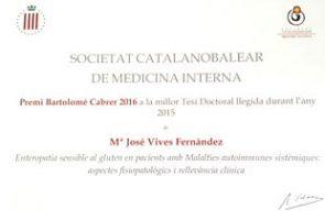 La Dra Mª José Vives, adjunta del Servei de Medicina Interna i Urgències del Parc Sanitari, ha estat guardonada amb el Premi Bartolomé Cabrer 2016 a la millor Tesi Doctoral